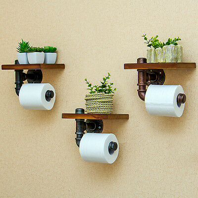 Industrial Style Iron Pipe Toilet Paper Holder Roller With Wood Shelf  H1