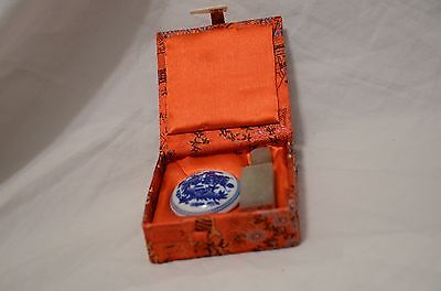 Chinese Year of the OWL Chop Stamp Seal Ink Set Original Box