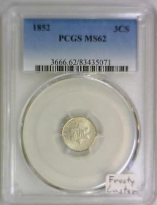 1852 Three Cent Silver PCGS MS-62; Frosty Luster!