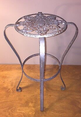 Antique Ornate Cast Iron Wrought Iron Plant Stand T4 Round