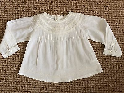 MAYORAL spanish designer IVORY BRODERIE SUMMER TOP long sleeve 6-9 baby girl