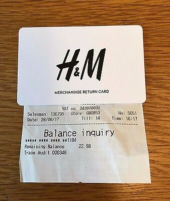 H&m £22.98 Gift Card Voucher Credit Note