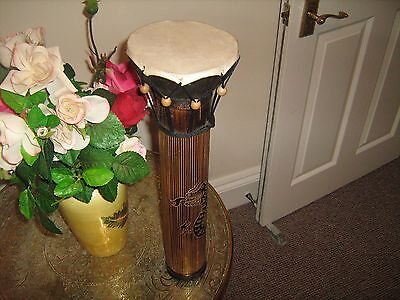 Unique Hand Carved Djembe Bongo Drum 5 inches with carved bamboo base