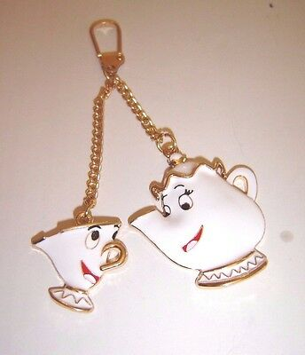Mrs Potts Teapot And Chip Cup Keyring Keychain Handbag Charm Beauty & The Beast