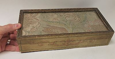 Antique French / Italian Gift Painted Box Inset SilverThread Embroidery Fabric