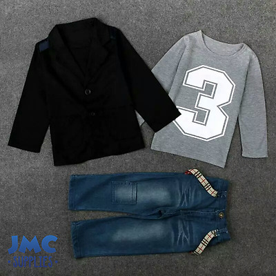 Boys Clothing 3pcs set Blazer Sweater Jeans kids clothes outfit baby new 2-6 yrs