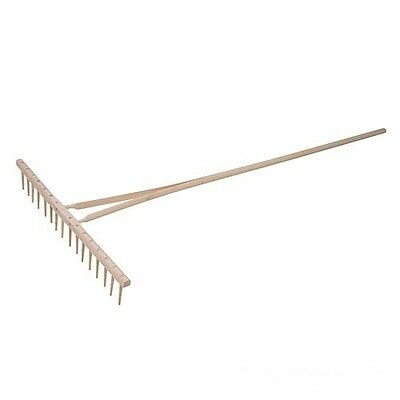 Traditional wooden rake with wide head and long reach with 16 dowelled peg teeth