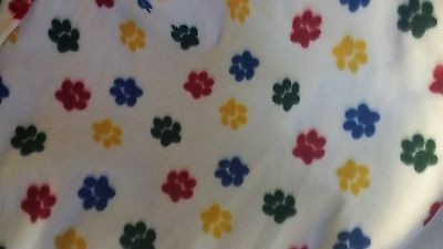 PET DOG CAT FLEECE BLANKET  Handcrafted 45x60 in large white w/ multicolor paws