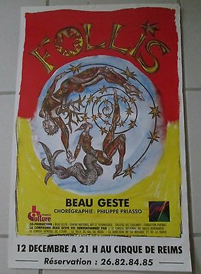 Affiche Spectacle FOLLIS Priasso 1989 illustr. Skinazy