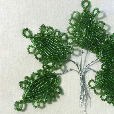 Vintage French Lacy Green Beaded Leaves