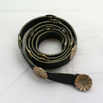 Vintage 41 Inch Long Black Leather Sterling Silver Concho Belt - Unsigned