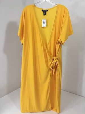 d62443dec85bc Ashley Stewart Women s Plus Size Classic Wrap Dress Old Gold 26 28 Nwt  55