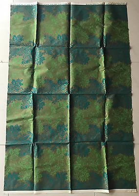 Vintage 60s 70s Green Gold Screen Print Fabric Material Textile Crafts Modern