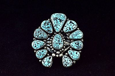 Native American Navajo Indian Jewelry SS SpiderWeb Kingman Turquoise Naja Ring 7