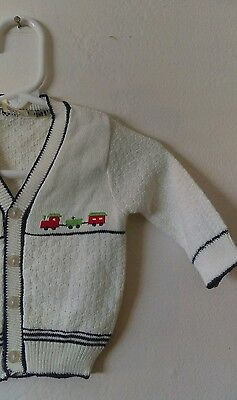Vtg Baby Boy's Cardigan Sweater Sz 0-3 Mos Vintage Newborn Infant Train Theme