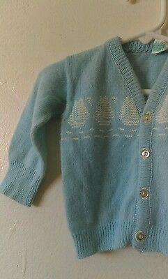 Vtg Baby Boy's Sailboat Blue Cardigan Sweater Sz 3-6 Mos Vintage Newborn Infant