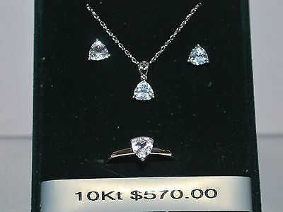 10K White Gold Necklace/Pendant/Earrings/Ring with Cubic Zirconia Stones