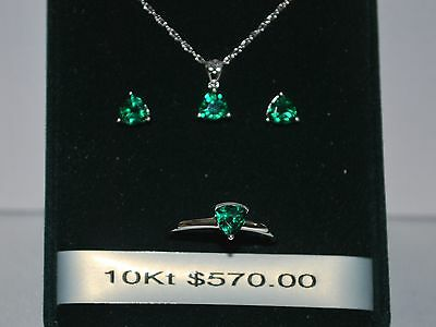 10K White Gold Necklace/Pendant/Earrings/Ring with Emerald Stone(May Birthstone)