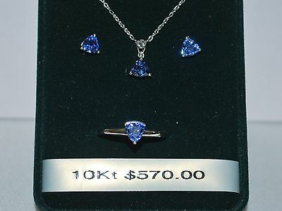 10 K White Gold Necklace/Pendant/Earrings/Ring w/ Sapphire(September Birthstone)