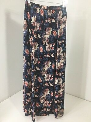 Pinkblush Maternity Women's Floral Side Slit Maxi Navy/cream/purple Med Nwt