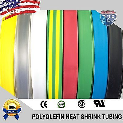 ALL SIZES & COLORS 25 - 100 FT Polyolefin 2:1 Heat Shrink Tubing Sleeving US LOT