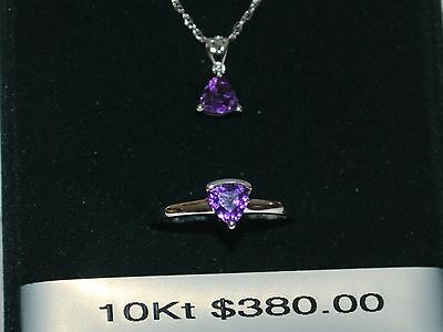 10K Gold Necklace/Pendant/Ring with Amethyst(February Birthstone)