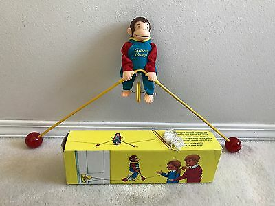 Vintage Curious George Toy On Unicycle Balancing Monkey 1995