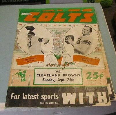 1949 Baltimore Colts Cleveland Browns AAFC Football Game Program Otto Graham