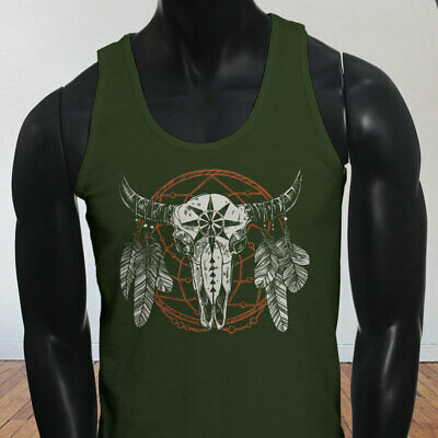 BULL DREAM CATCHER SKULL COUNTRY COWGIRL RODEO Mens Military Green Tank Top