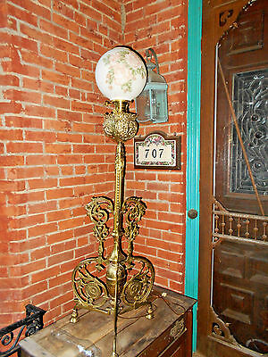 Antique Brass Hollings & Co. Boston Floor Lamp~ Piano GWTW Shade Oil Electrified