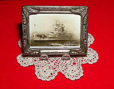 USS Arizona at Anchor Antique Miniature Brass Picture Frame w/ Stand Free S/H