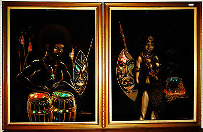 Mid Century Modern Pair of Velvet Paintings Electric Lighted Mod Tiki Style
