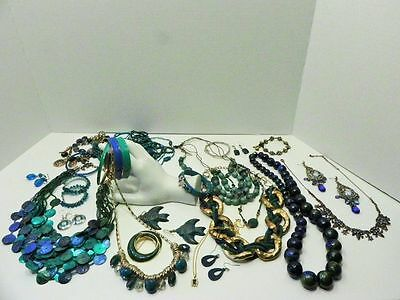 Costume Jewelry Lot Mixed ages style mediums Teal Crystal Hoop style earrings ++