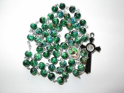 Green Round Glass Beads Religious Rosary Necklace with Crucifix Our Lady NEW