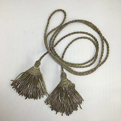 Antique French Silver  Metallic  Corded Tassels  Passementerie 19Th- Century