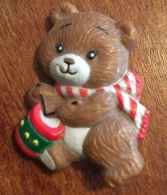 Christmas Teddy Bear Brooch/Pin Stamp Russ From The 80S