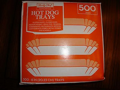 "Daily Chef White Fluted Closed End Hot Dog Trays 500-8""  NEW"