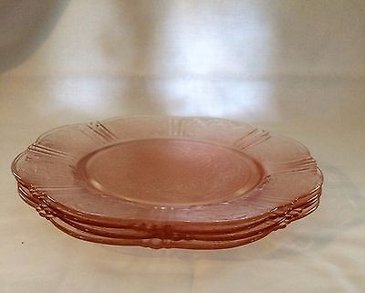 "American Sweetheart Pink Depression 8"" Salad Plate Set Of 4  1930-36"