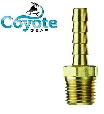 """1/8"""" NPT Male Threads x 1/4"""" Hose Barb Brass Straight Fitting Coyote Gear"""