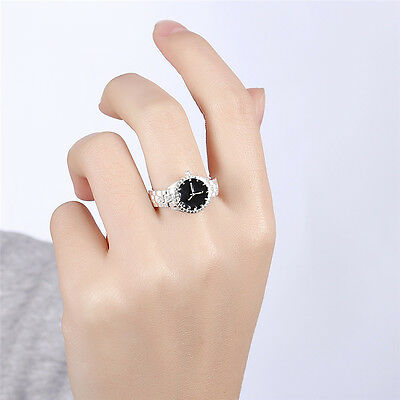 Fashion White Dial Stainless Steel Silver Alloy Quartz Womens Finger Ring Watch