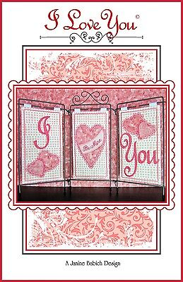 I LOVE YOU MACHINE EMBROIDERY PATTERN w/CD, from Janine Babich Designs, *NEW*