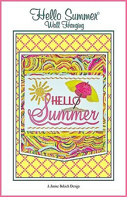 HELLO SUMMER MACHINE EMBROIDERY PATTERN w/CD, from Janine Babich Designs, *NEW*