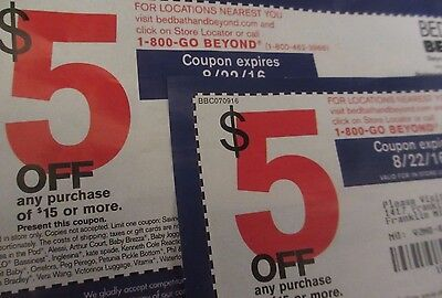 10 Bed Bath & Beyond Coupons Lot $5 Off $15 purchase