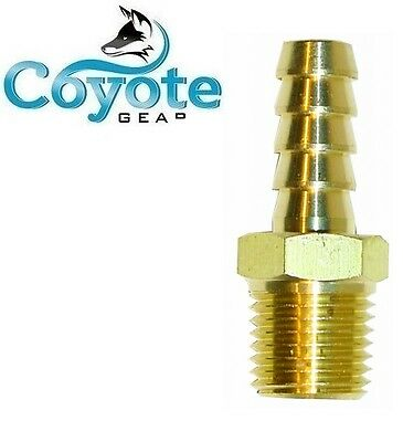 "Brass Hose Barb 3/8"" X 3/8"" Male NPT Pipe Thread Hex Fuel Straight Fitting"