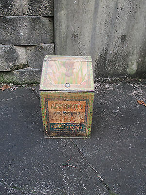 Tea Box Antique Store Display Tin Howell and Brown Iris Flowers Country Decor