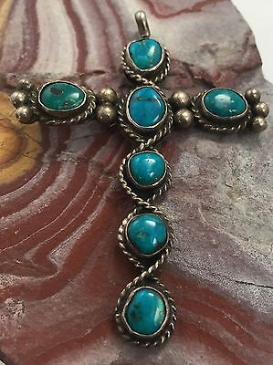 "Vintage Navajo Cross Turquoise Cabs Sterling Silver 2.5"" Long"