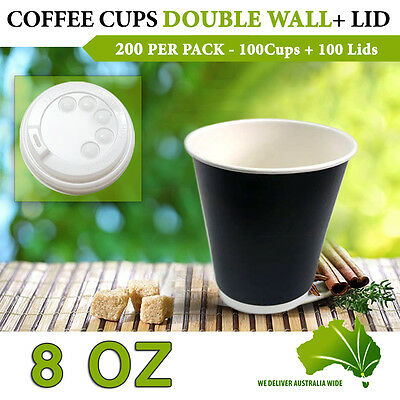 Double Wall Disposable Coffee Cups 8 oz 100 Pc Cups+Lids 100 Pc Double Wall Bulk