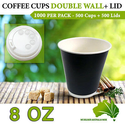 Double Wall Disposable Coffee Cups 8 oz 500 Pc Cups+Lids 500 Pc Double Wall Bulk