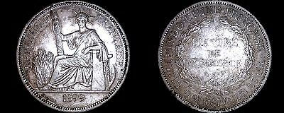 1899-A French Indo-China 1 Piastre World Silver Coin - Vietnam