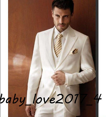 Mens 3 Pieces White/Ivory Wedding Suits Formal Dress Groom Best Man Custom Made